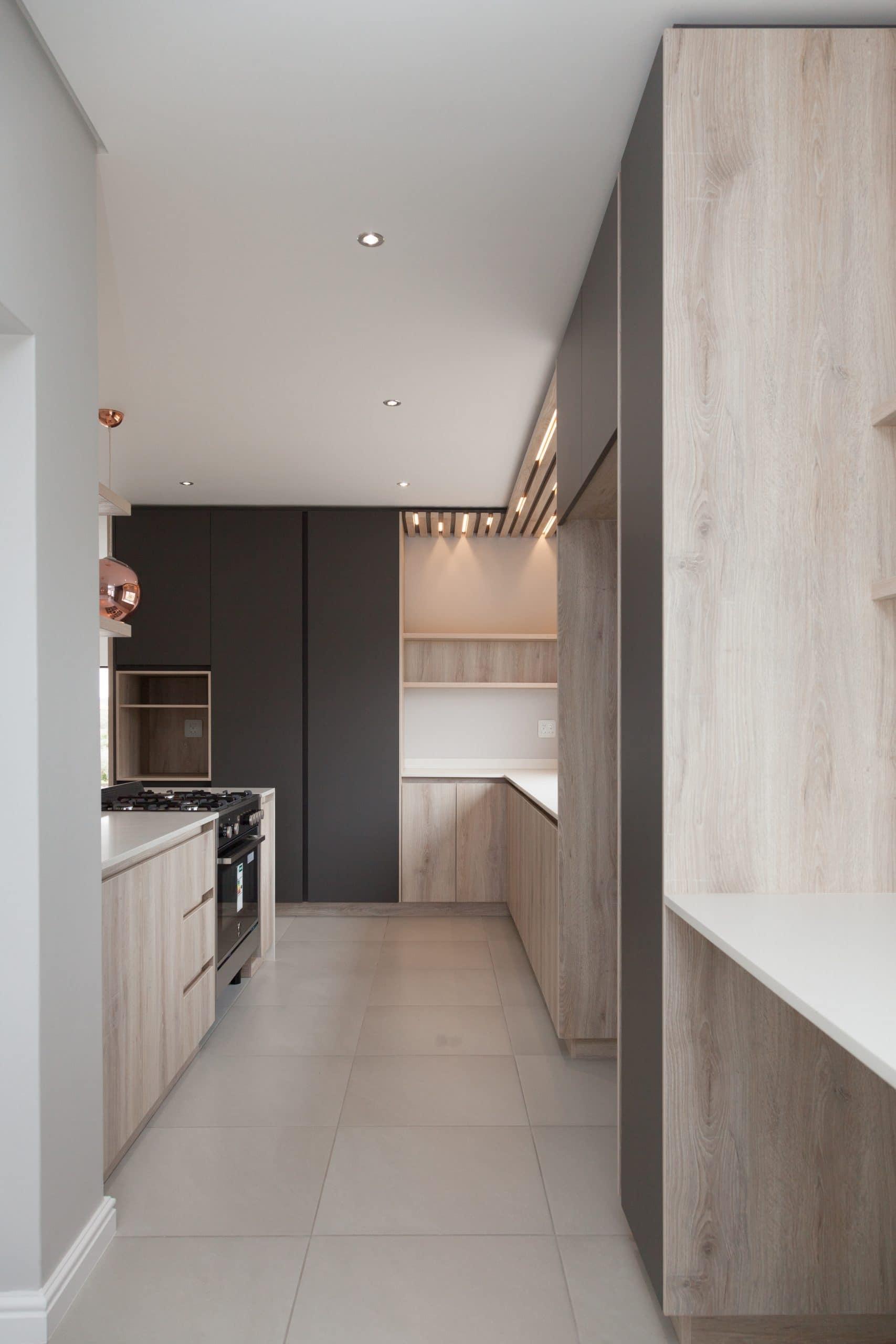 modern led kitchen slats grey and wooden