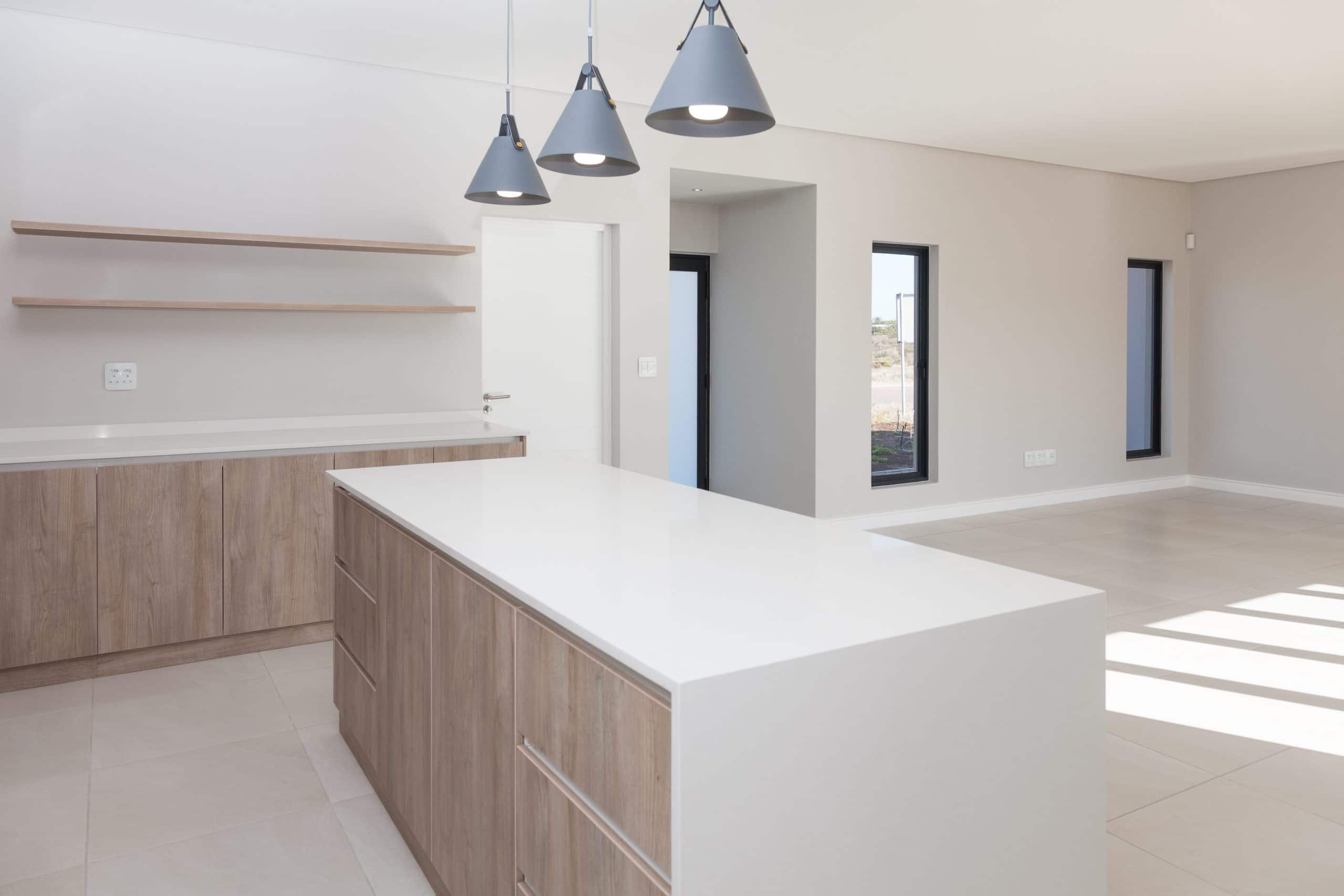 concrete pendants kitchen island white counter tops quartz