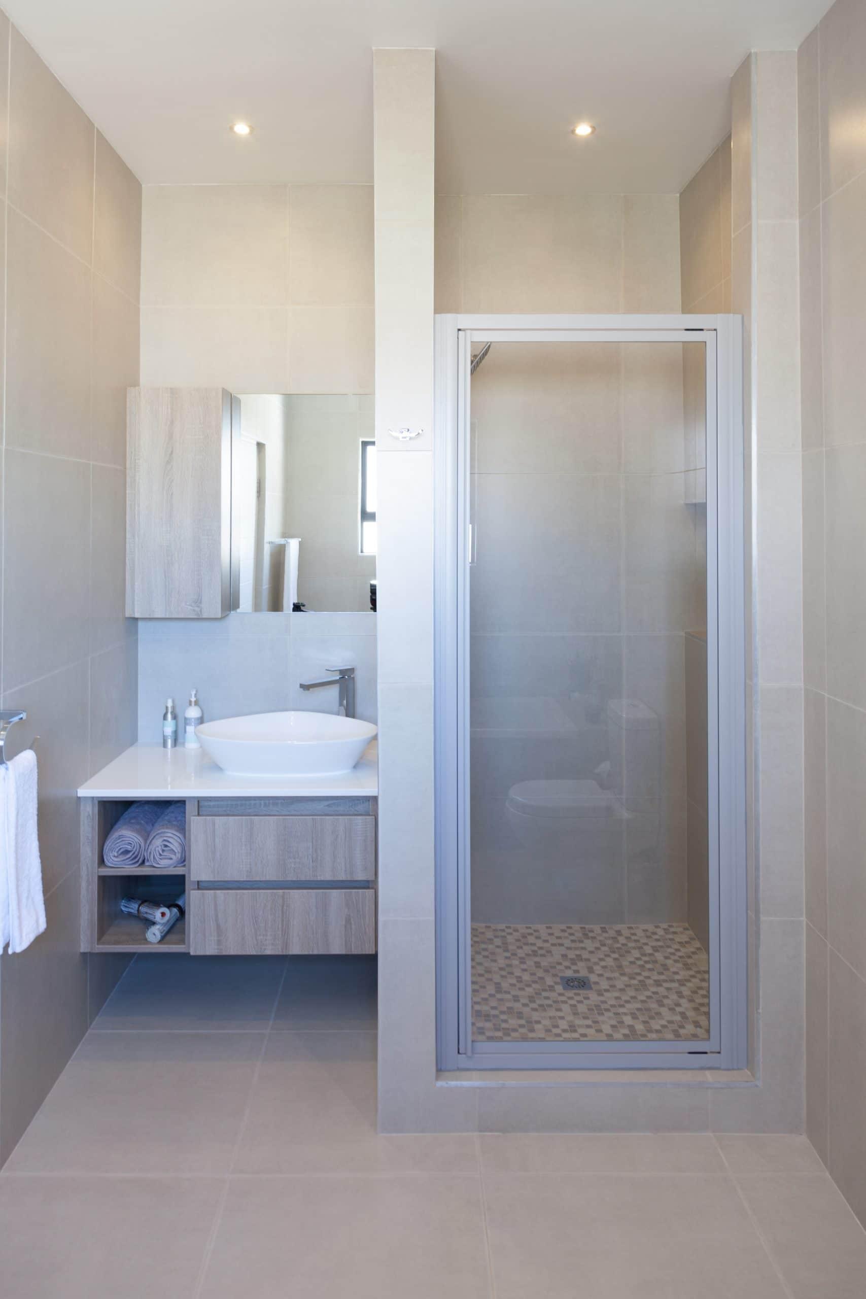 modern bathroom vanity and shower
