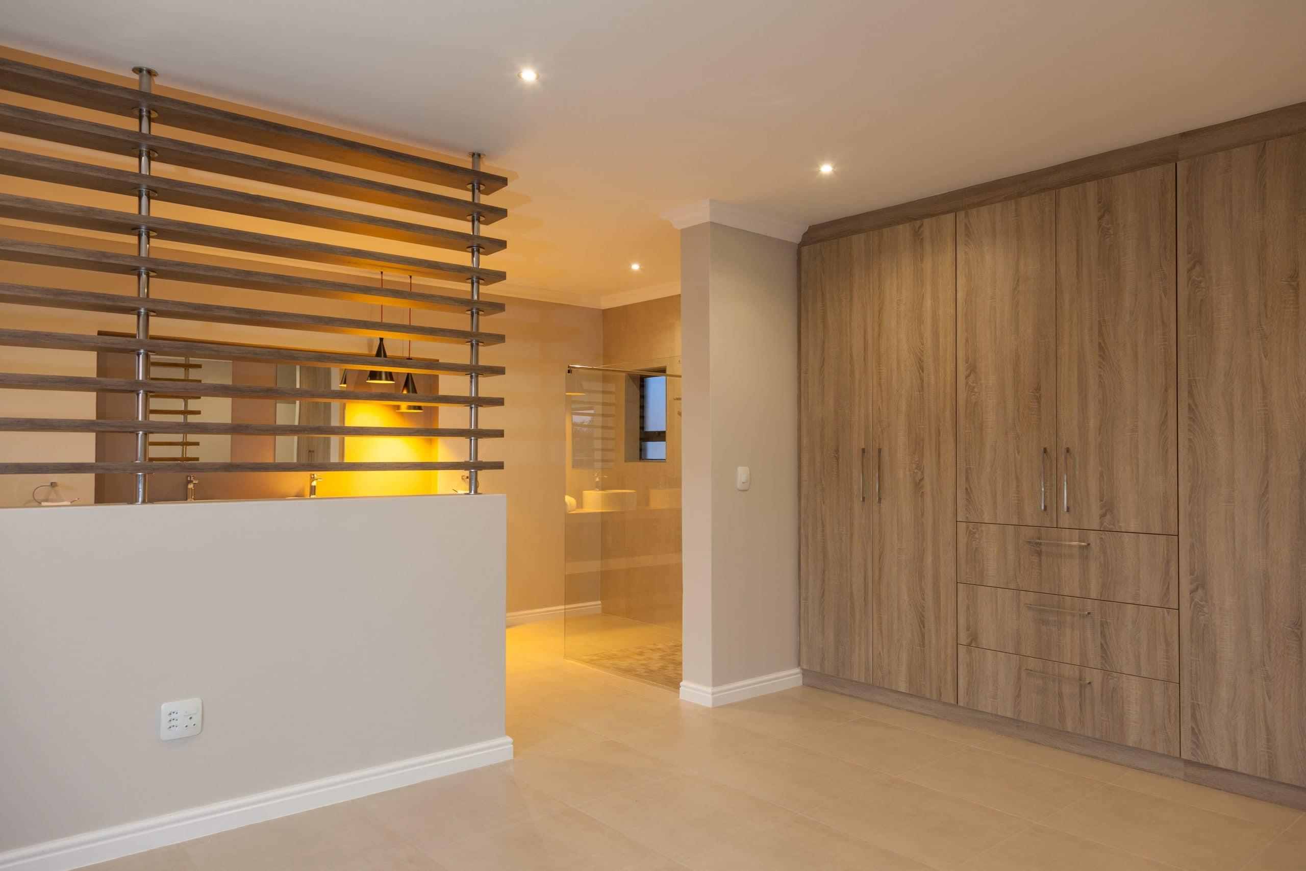 wooden slats bedroom bathroom divider open plan bathroom modern design