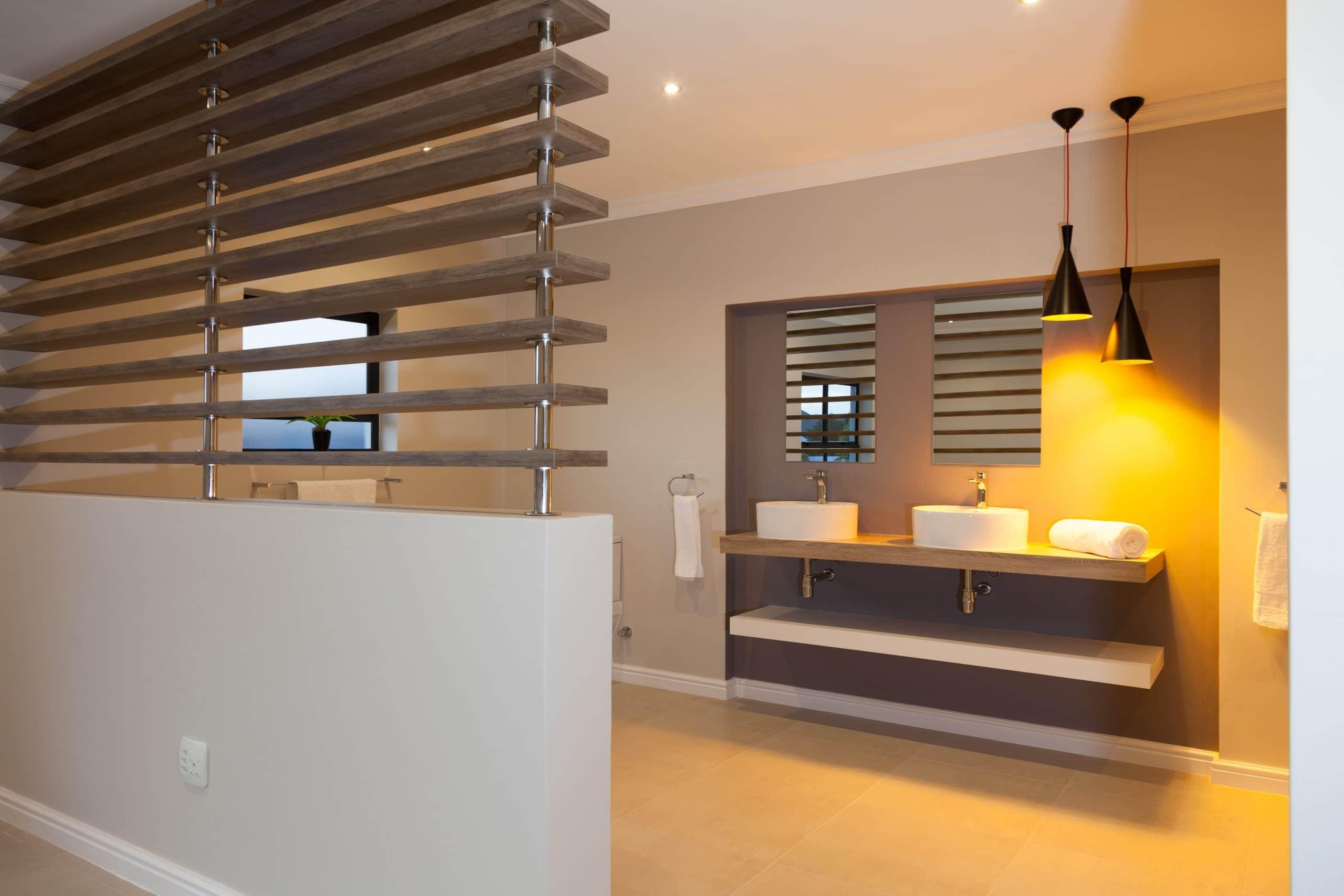 wooden slats modern bedroom bathroom black yellow light pendants
