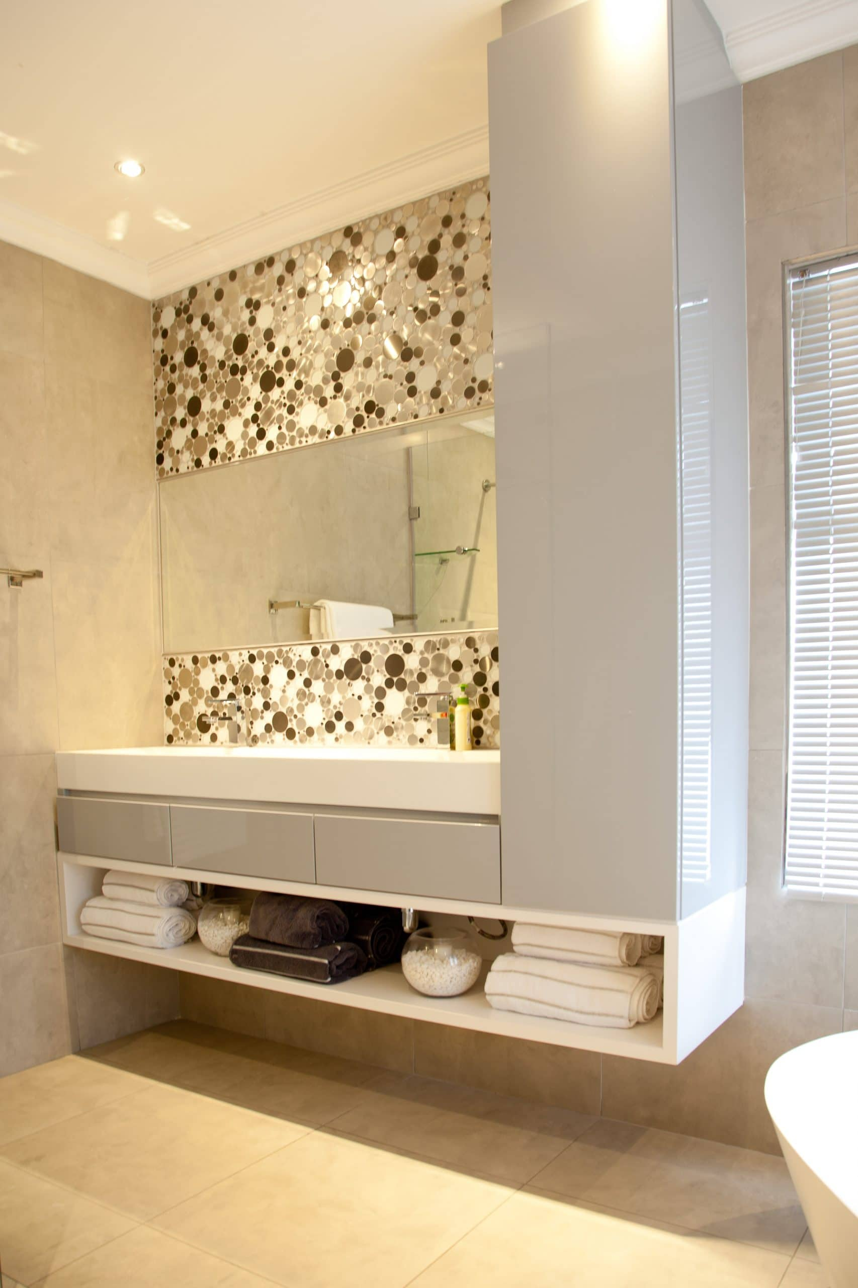 modern mosaic wall bathroom in langebaan