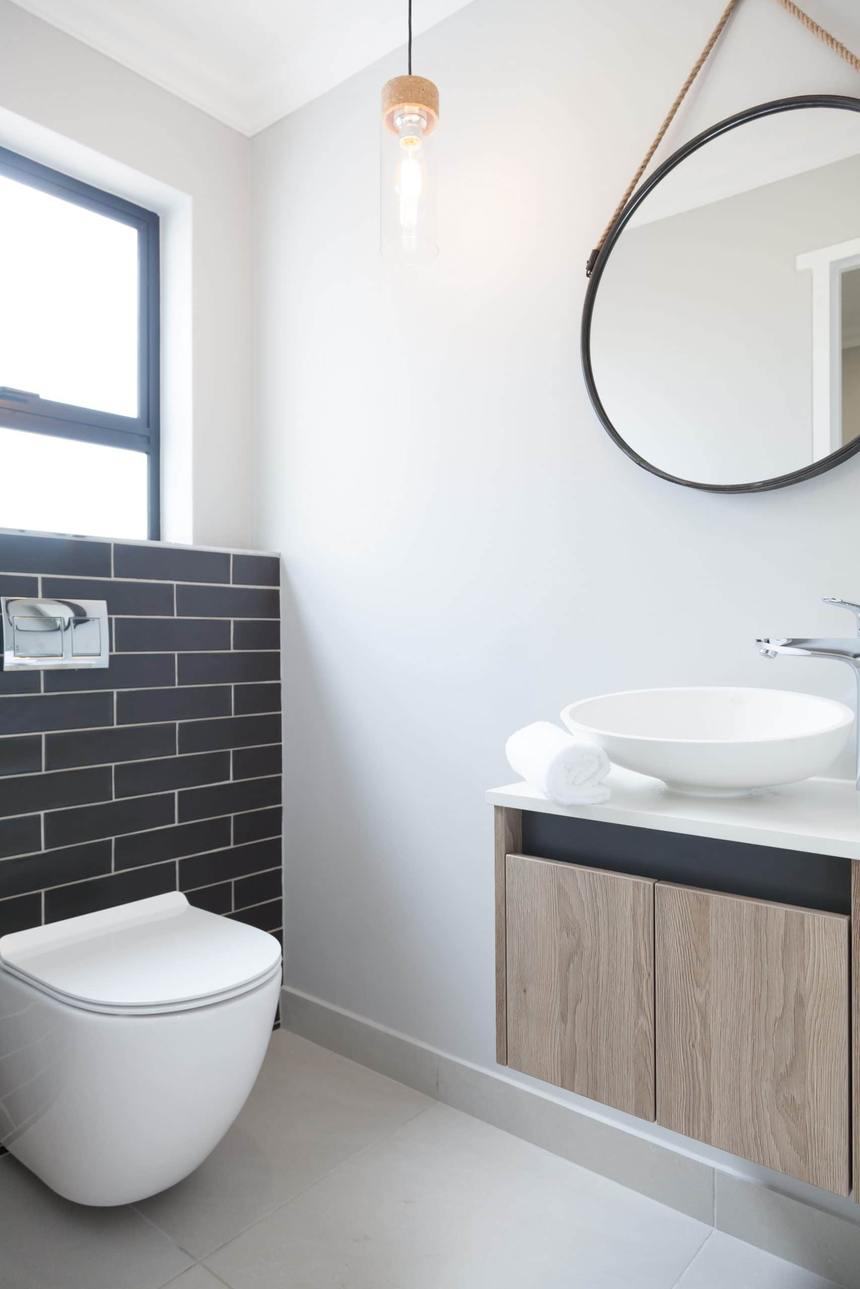 wall hung toilet and designer vanity