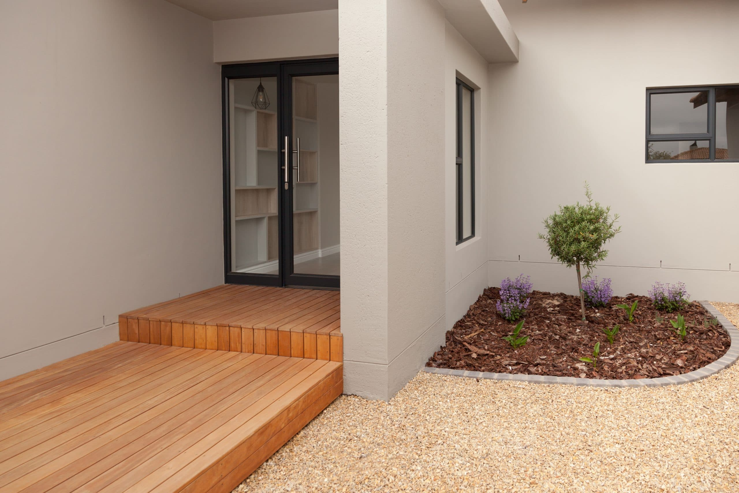 wooden timber decking entrance with enclossed courtyard langebaan country estate