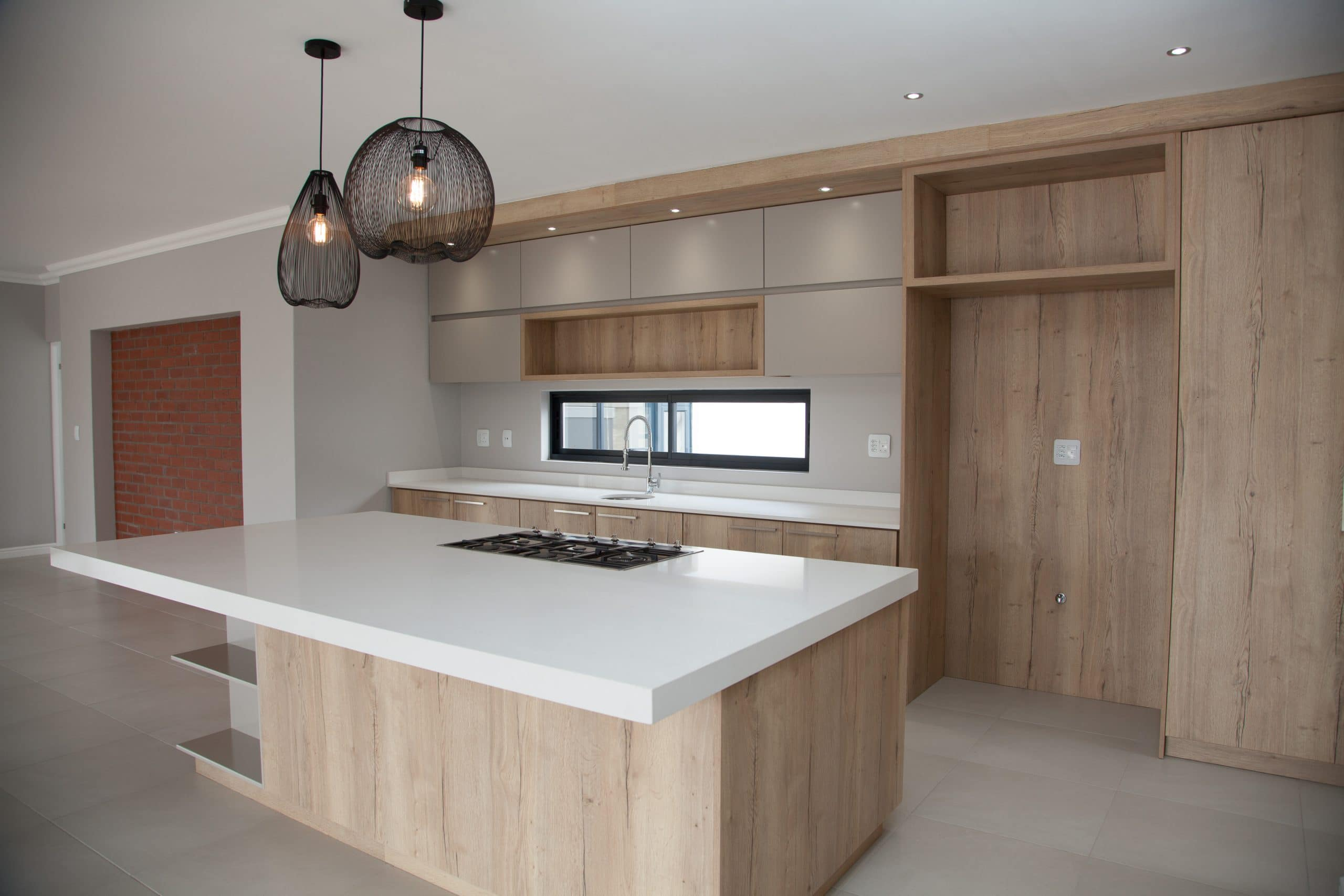 modern kitchen grey and wood kitchen weylands pendants exposed red brick