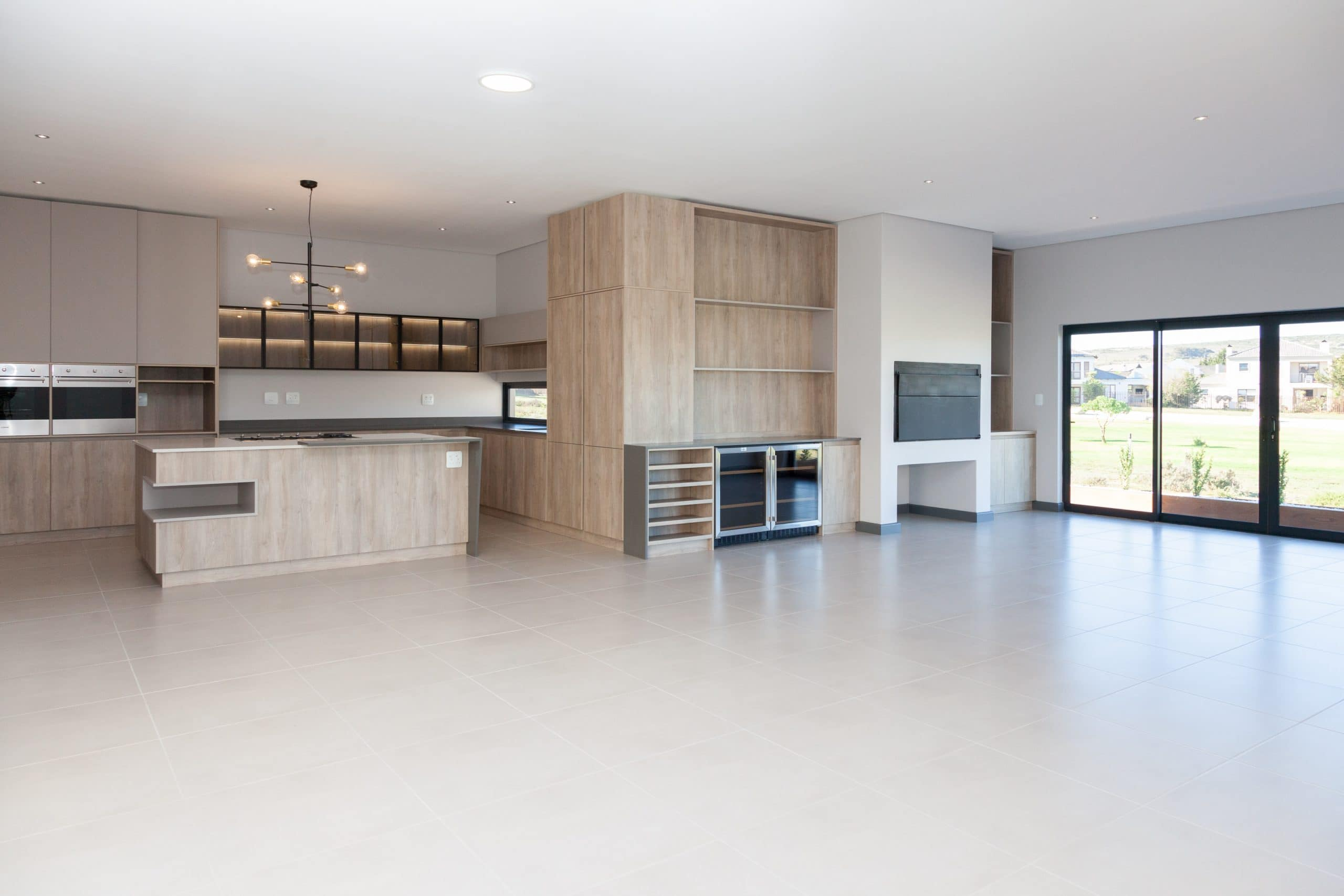 snowmaster built in bar fridge modern kitchen built in braai overlooking langebaan golf course