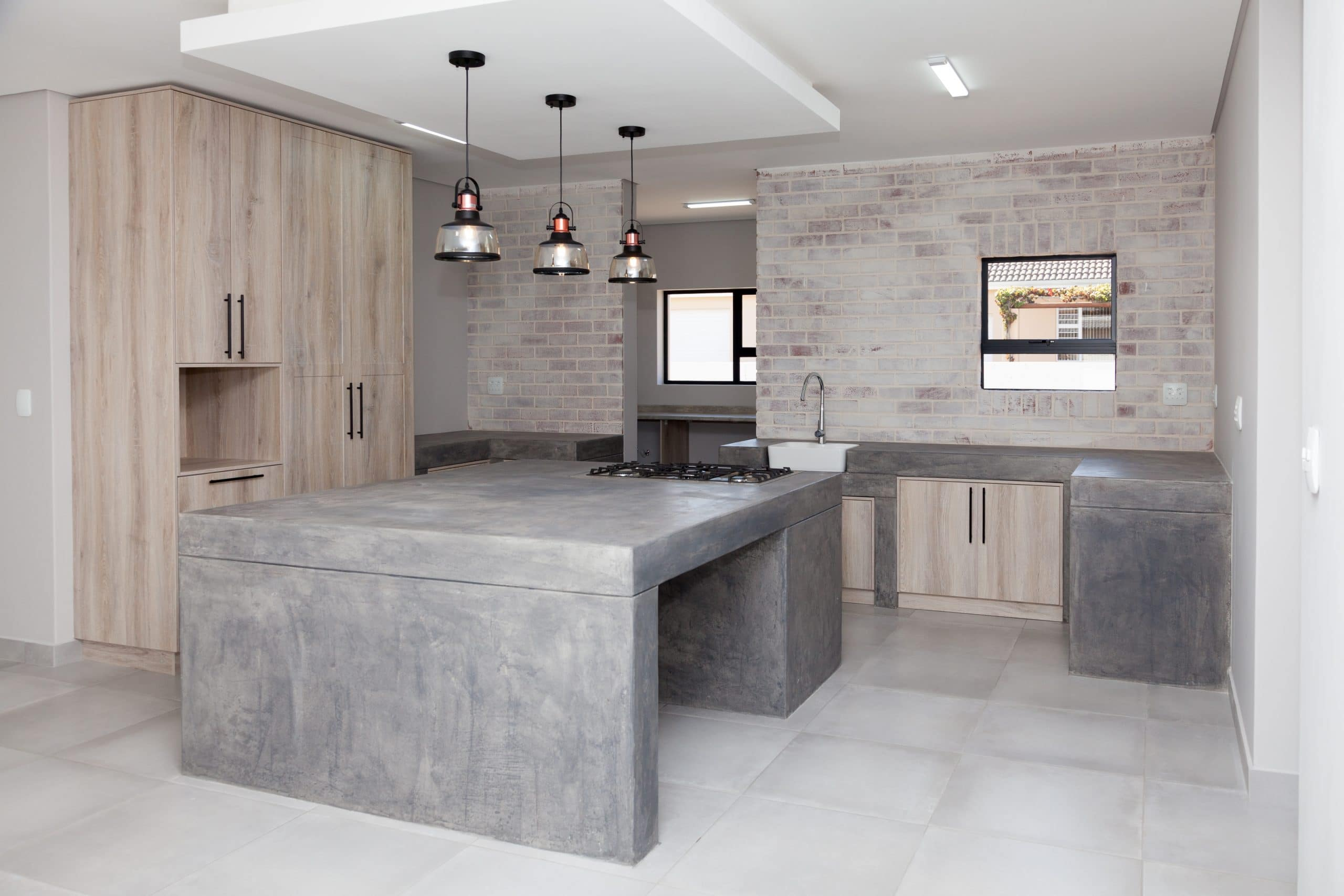white washed brick kitchen with wood en screed finish rustic kitchen