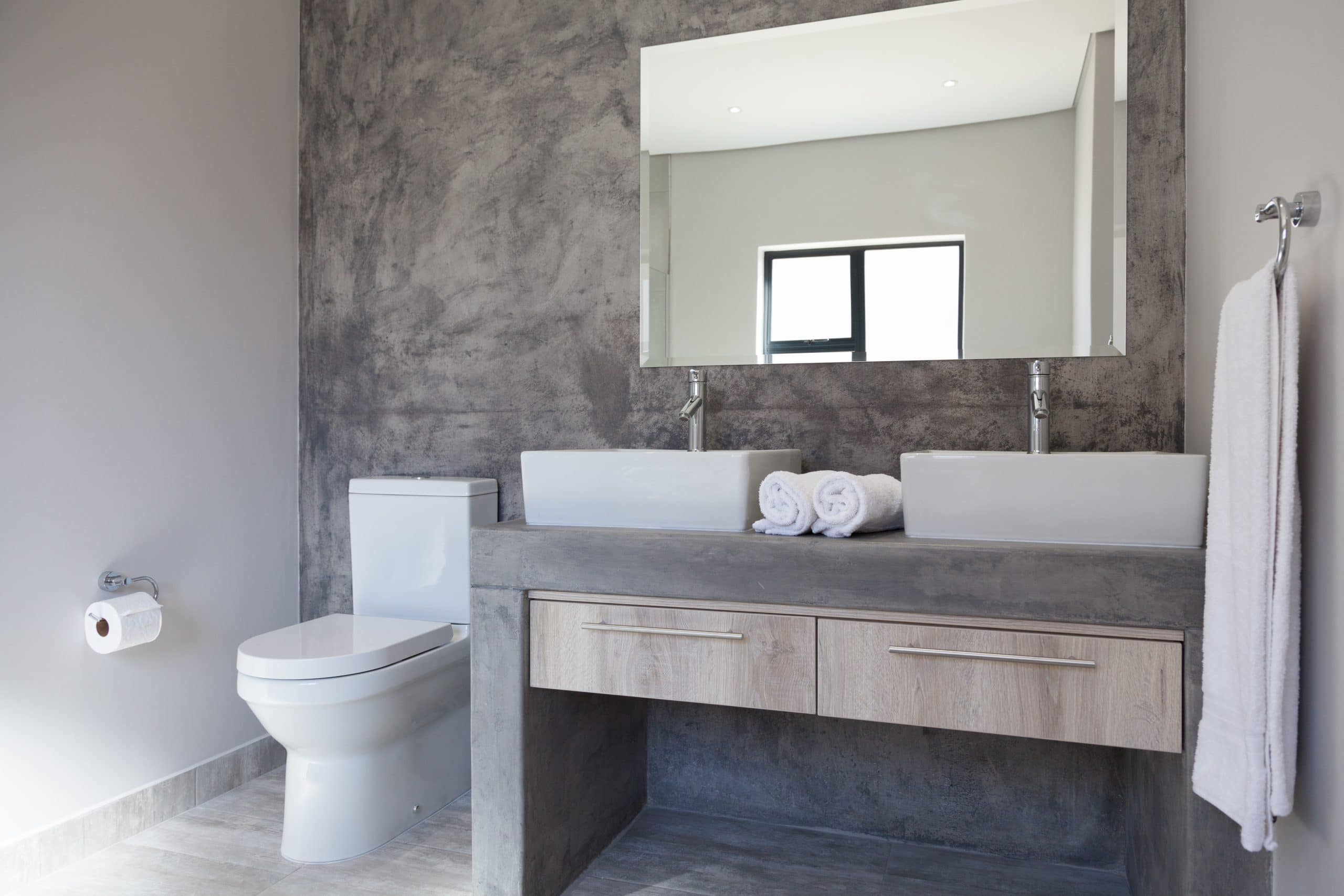 rustic screed wall in bathroom langebaan