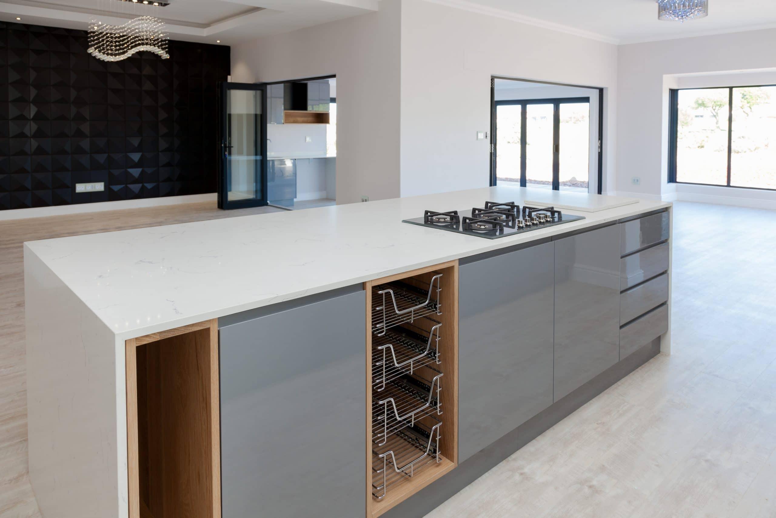 ultra modern home designer kitchen and black 3d wall langebaan